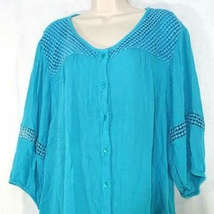 Catherines Button Front Blouse Top Women Size 2X